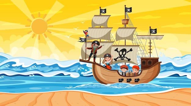 Ozean mit piratenschiff bei sonnenuntergang im cartoon-stil Premium Vektoren
