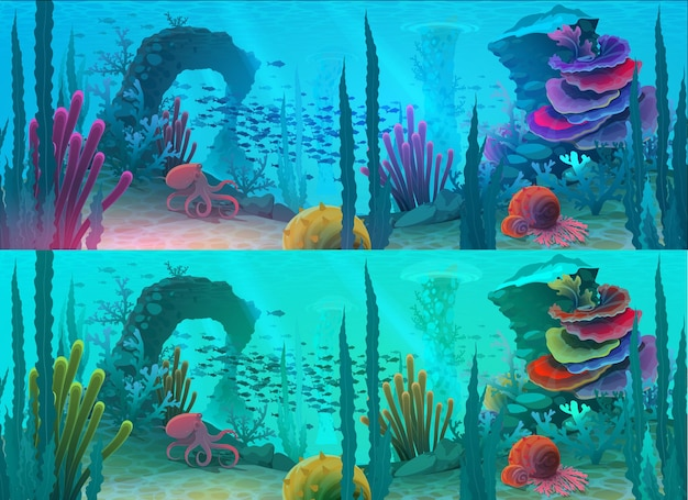 Ozean oder meerunterwasserhintergrund mit karikaturfisch