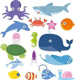 Ozean-tierfisch-wal-krabben-kraken-haifisch