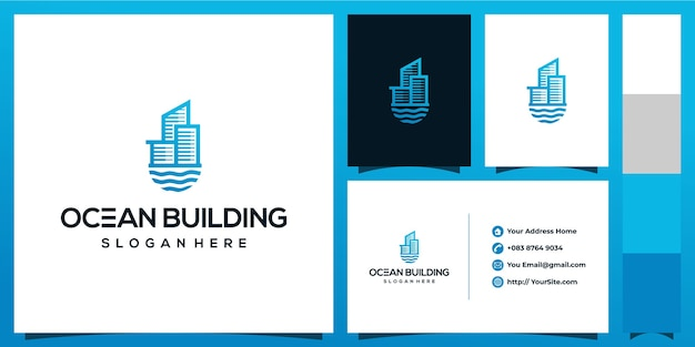 Ozeangebäude-logoentwurf mit visitenkartenkonzept