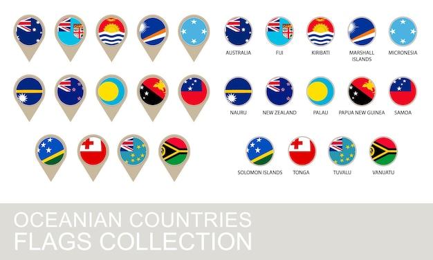 Ozeanien-länderflaggen-kollektion, 2 versionen