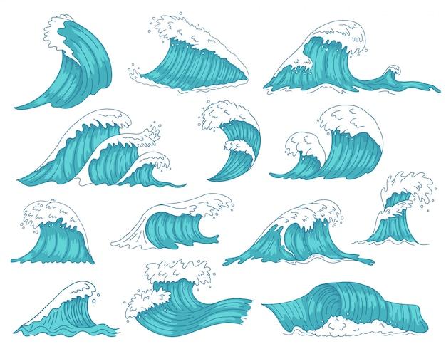 Ozeanische wellen. seehand gezeichnete tsunami oder sturmwellen, meerwasserschacht, ozeanstrand surfende wellenillustrationsikonen gesetzt. tsunami-sturm, meereswellenbewegung