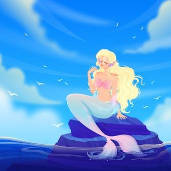 Ozeanlandschaft mit herrlicher meerjungfrau