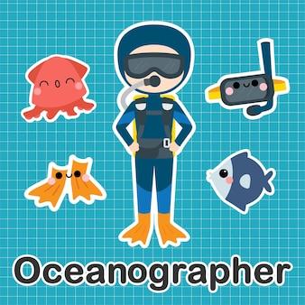 Ozeanograph - satz der besetzung niedliche kawaii zeichentrickfigur