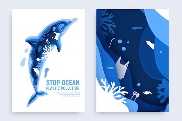 Ozeanplastikverschmutzung eingestellt mit delphinsilhouette. papier geschnittener delphin mit plastikmüll, fisch, blasen und korallenriffen lokalisiert auf weißem hintergrund.