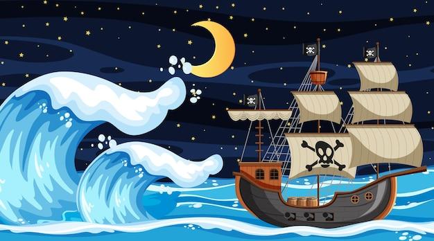 Ozeanszene bei nacht mit piratenschiff im cartoon-stil