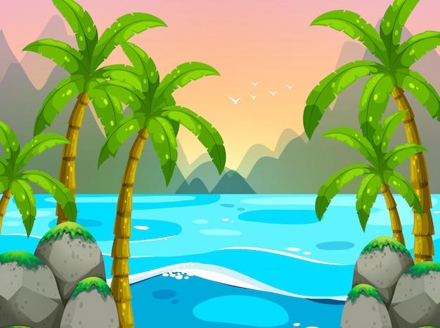 Ozeanszene mit bergen im hintergrund