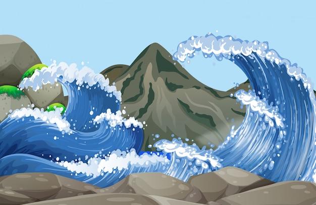 Ozeanszene mit großen wellen auf den felsen