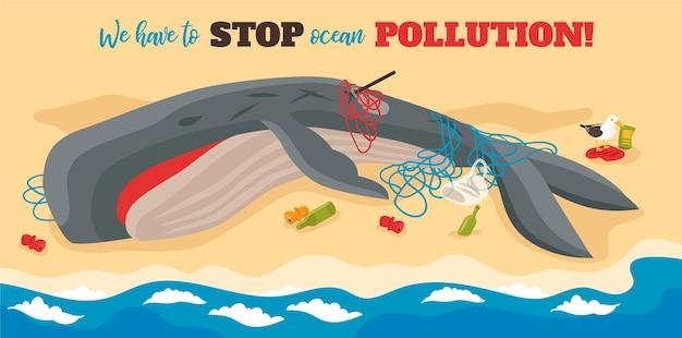 Ozeanverschmutzungsillustration mit dem großen sterbenden wal verwickelt in seilen, die am meeresstrand liegen