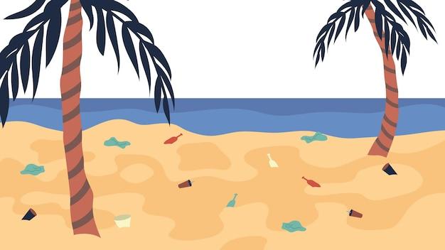 Ozeanverschmutzungskonzept, viel müll am strand. Premium Vektoren