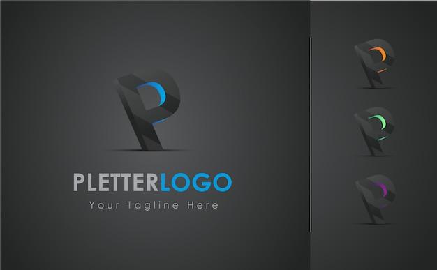 P brief 3d logo design set