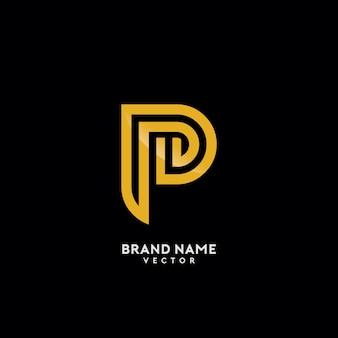 P brief gold monogramm logo design