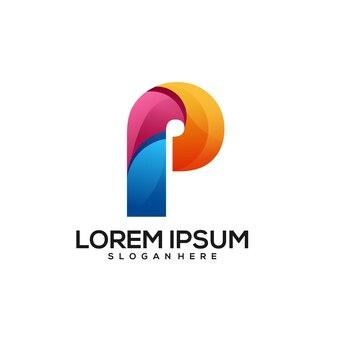 P letter design bunter farbverlauf