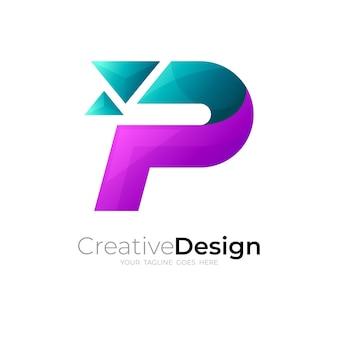 P-logo-technologie, buchstabe p-logo mit pixelsymbolen