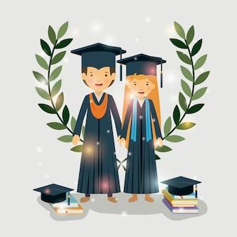 Paar absolventen klasse der jahreszeichen