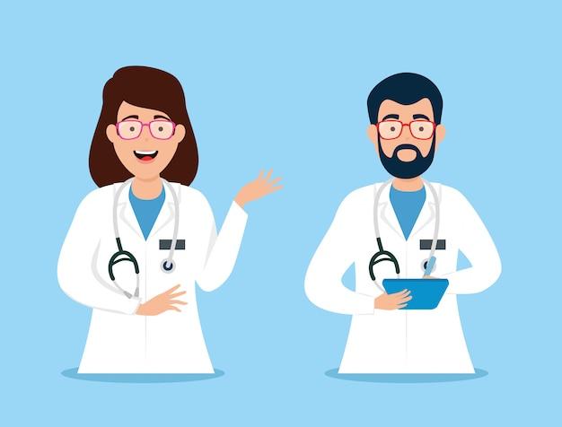 Paar ärzte avatar charakter vektor-illustration design
