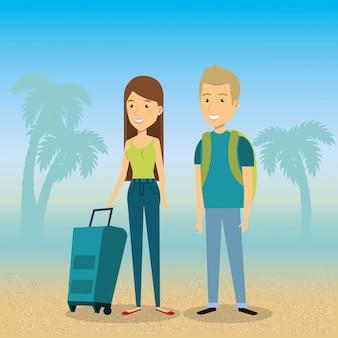Paar am strand sommerferien
