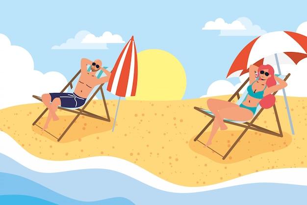 Paar am strand übt soziale distanzszene, sommerferien