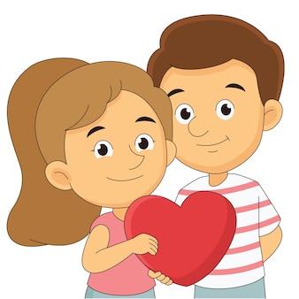 Paar am valentinstag, großes herz haltend