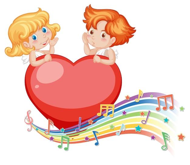 Paar amor-engel-charakter mit melodiesymbolen auf regenbogen