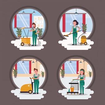 Paar arbeiter housekepping mit ausrüstung