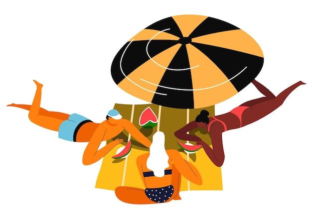Paar auf decke unter regenschirm sonnenbaden und wassermelonenfrucht essen Premium Vektoren