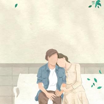 Paar auf einem datumsvektor in der hand gezeichnete illustration des themas des gartenvalentinsgrußes