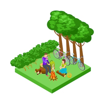 Paar auf einem romantischen picknick, isometrischer tourismus mit fahrradkonzept