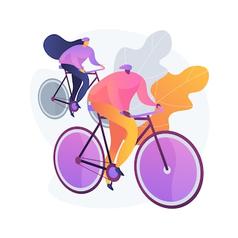 Paar auf fahrrädern. gesunder lebensstil und fitness. fahrer auf der straße, radfahrer auf hügeln, radfahrerrennen. familienreisen. fahrzeug und transport.