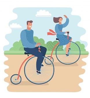 Paar auf kreidezeichnungen hintergrund. mann, der seine freundin auf einem alten hochrad fährt.