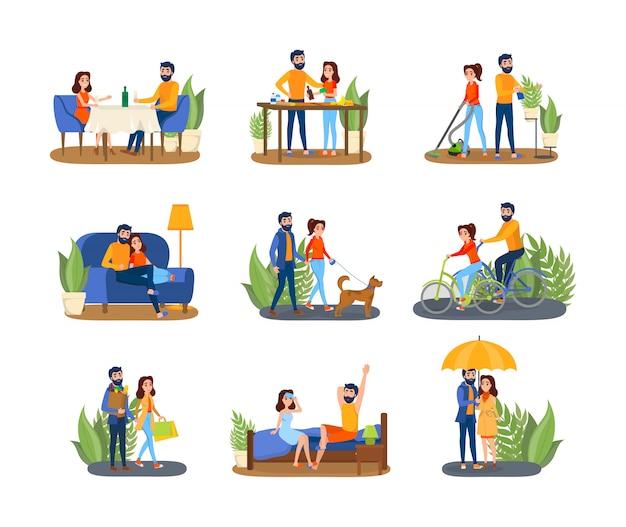 Paar auf verschiedenen aktivitätsset. mann und frau kochen zusammen, gehen mit einem hund spazieren und sehen fern. junge familie zu hause. illustration
