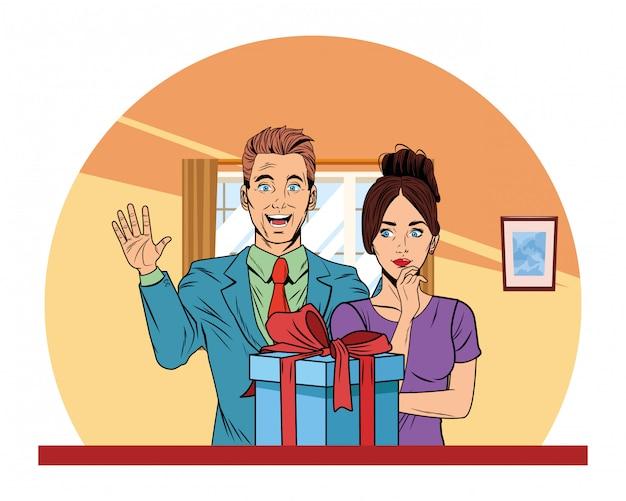 Paar avatar mit geschenkbox pop-art