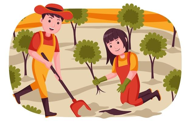 Paar bauer gräbt den boden für das pflanzen von pflanzen.