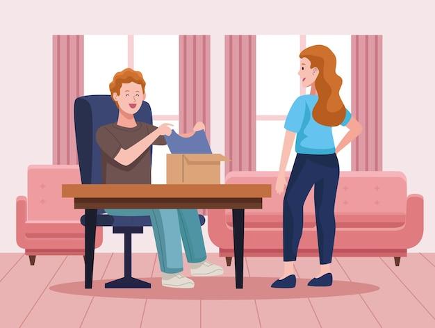 Paar beim auspacken im leben