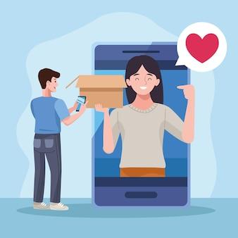 Paar beim smartphone auspacken