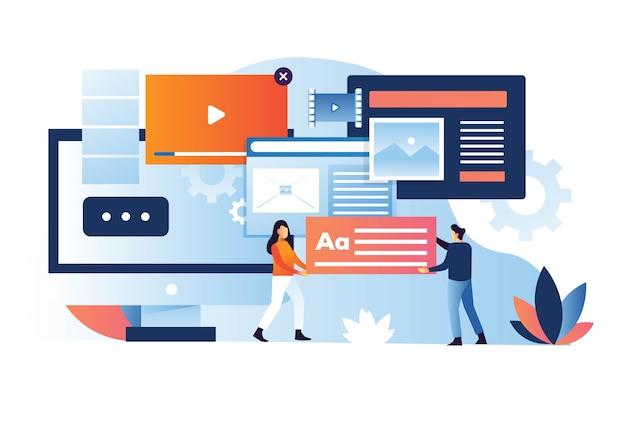 Paar bringen einen platzhaltertext in das content management system