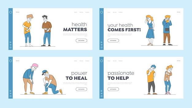 Paar charaktere fühlen verschiedene arten von schmerz landing page template set.