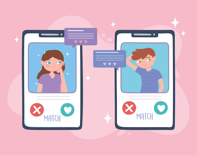 Paar chatten auf dem smartphone-bildschirm, virtuelle beziehung