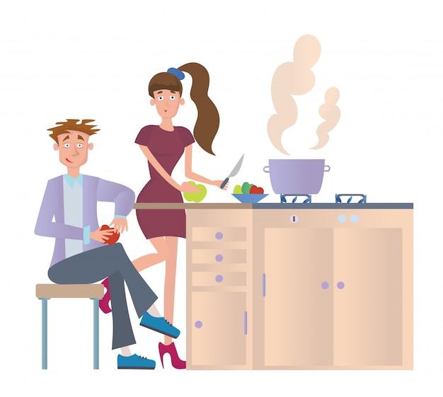 Paar, das abendessen zu hause in der küche kocht. junger mann und frau, die essen am küchentisch vorbereiten. illustration, auf weißem hintergrund.