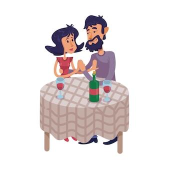 Paar, das am tisch flache karikaturillustration sitzt. mann und frau haben romantisches date. gebrauchsfertige 2d-zeichenvorlage für werbung, animation und druckdesign. isolierter comic-held