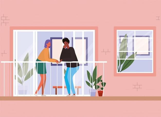 Paar, das aus dem fenster mit balkon vom rosa hausentwurf schaut, bleibt zu hause themaillustration