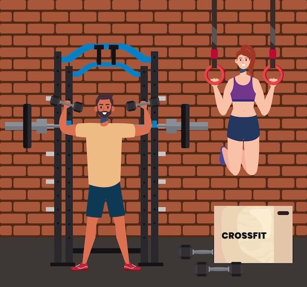 Paar, das crossfit übt