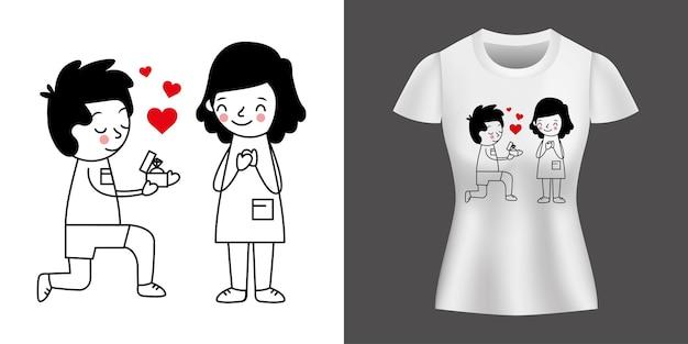 Paar, das die ehe vorschlägt, die auf hemd gedruckt wird.