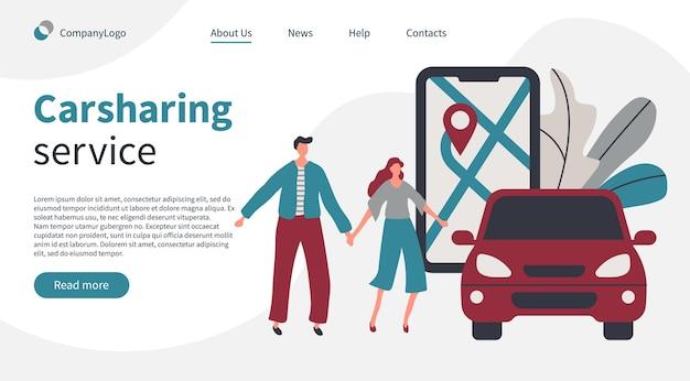 Paar, das ein auto mit carsharing mobile app service bucht