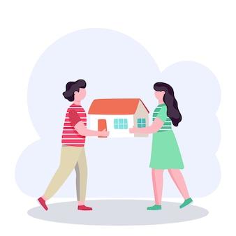 Paar, das ein modell des neuen hauses, immobilienhypothekenkonzept, vektorillustration hält