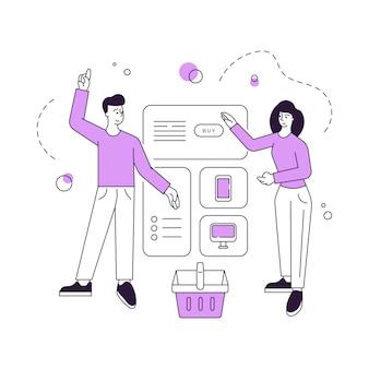 Paar, das elektronik im online-shop zusammen kauft
