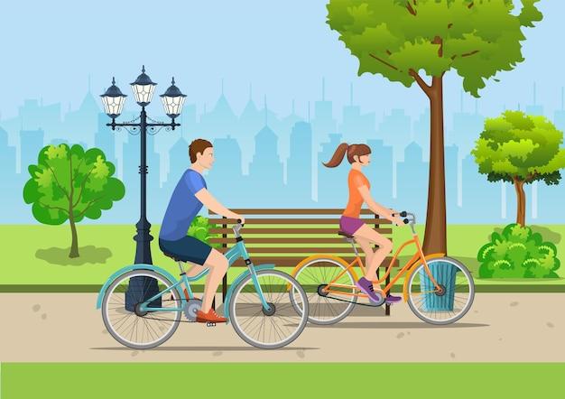 Paar, das fahrräder im öffentlichen park reitet, vektorillustration im flachen design