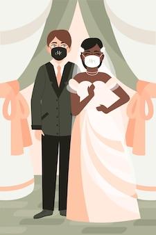 Paar, das gesichtsmasken bei ihrer hochzeit trägt