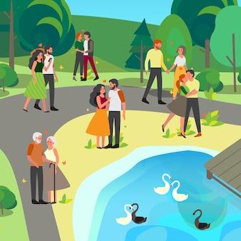 Paar, das hand hält und zusammen im park geht. frau und mann sind verliebt. liebhaber verbringen zeit miteinander.
