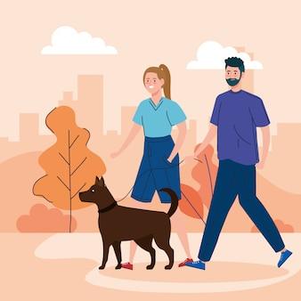 Paar, das ihren hund im park spaziert